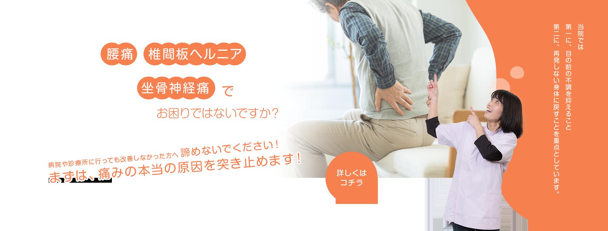 病院や診療所に行っても改善しなかった方へ 諦めないでください!まずは、痛みの本当の原因を突き止めます!当院では 第一に、目の前の不調を抑えること 第二に、再発しない身体に戻すことを重点としています。